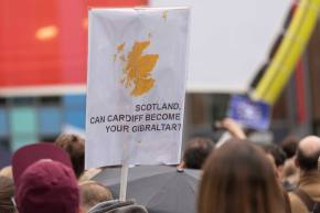 Banner pictured at Cardiff Stays Rally in June 2016. Photograph by David Lutwyche